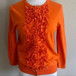 J.Crew light weight ruffled orange cardigan medium